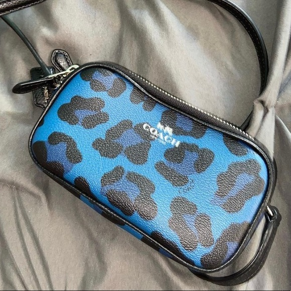 Blue cheetah print crossbody coach purse